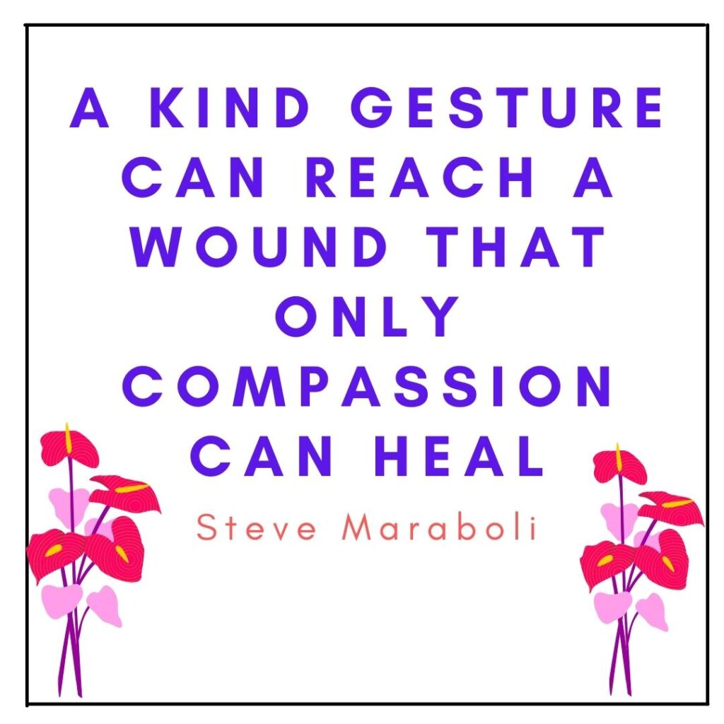 """Qoute about the Acts of Compassion by Steve Maraboli in """"Have you Heard of Letters of Compassion"""" post by Mommyshravmusings"""